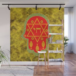 Hamsa for blessings, protection and strength - gold and red watercolor Wall Mural