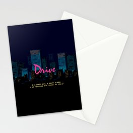 Drive Movie Pixel Night Stationery Cards