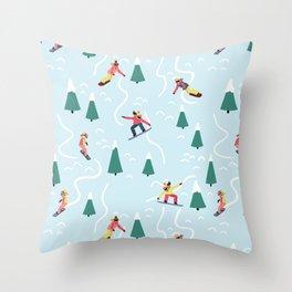 Snowboarding Girls Throw Pillow