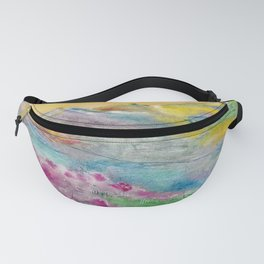 Sunset in the mountains. Watercolor painting Fanny Pack