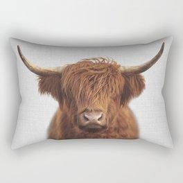 Highland Cow - Colorful Rectangular Pillow