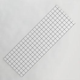 Grid Simple Line White Minimalist Yoga Mat
