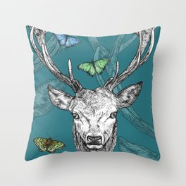 Scottish Stag, butterflies, pen and ink illustration, teal blue Throw Pillow