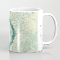 seoul Mugs featuring Seoul Map Blue Vintage by City Art Posters