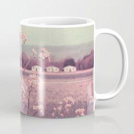 Sweet Spring (Teal Sky, Soft Pink Wildflowers, Rural Cottage) Coffee Mug