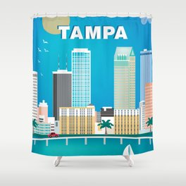 Tampa, Florida - Skyline Illustration by Loose Petals Shower Curtain