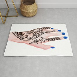 Modern watercolor hand  floral henna tattoo blue nails Rug