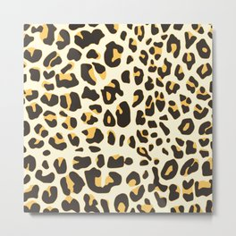 Trendy brown black abstract jaguar animal print Metal Print