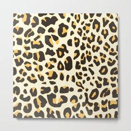 Trendy brown black abstract jaguar animal print Metal Print