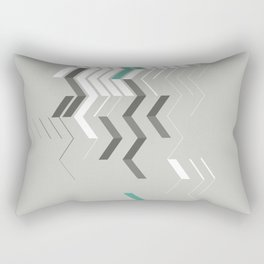 Deconstructed Chevron B – Gray / Teal Abstract Pattern Rectangular Pillow