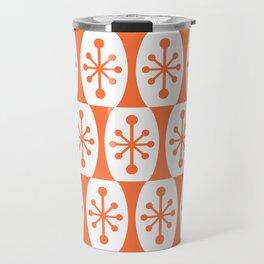Mid Century Modern Atomic Fusion Pattern Orange Travel Mug