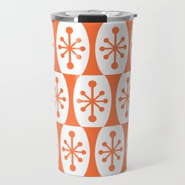Mid Century Modern Atomic Fusion Pattern Orange Travel Mug