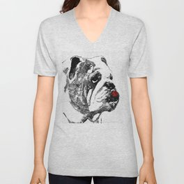 Bulldog Pop Art - How Bout A Kiss 2 - By Sharon Cummings Unisex V-Neck