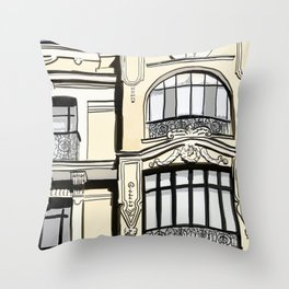 Baroque Architecture Drawing in Madrid Spain Throw Pillow