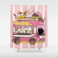 icecream Shower Curtains featuring IceCream Truck by ShangheeShin