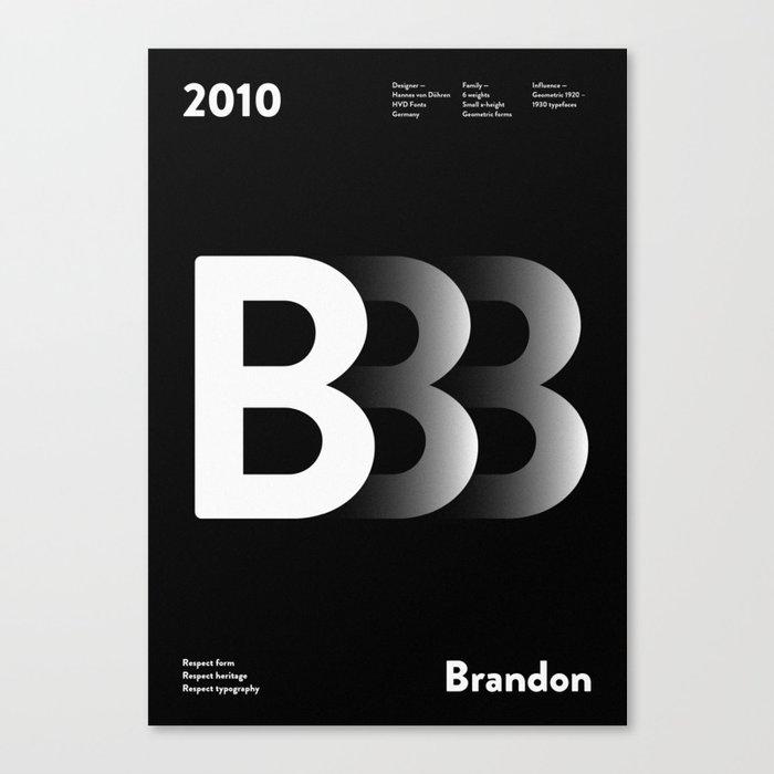 Sans Serif Vol  ¹ – Brandon Grotesque Canvas Print by barkle