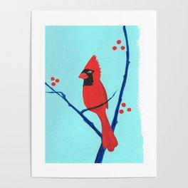 Cardinal Winter Berries Poster