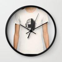 daft punk Wall Clocks featuring Daft Punk by Neon Wildlife