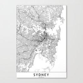 Sydney White Map Canvas Print
