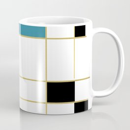 MidCentury Modern Art Aqua Gold Black Coffee Mug