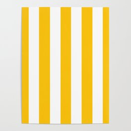 Mikado yellow - solid color - white vertical lines pattern Poster