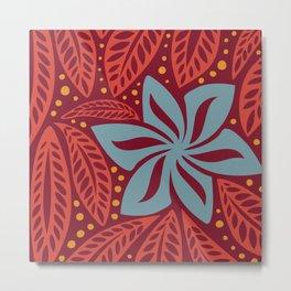 Hawaiian Polynesian Red Blue Floral Tattoo Metal Print