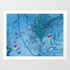 winter flowers in the pool Art Print