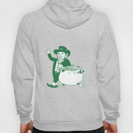 Green Leprechaun Standing by Pot of Gold Drawing Hoody
