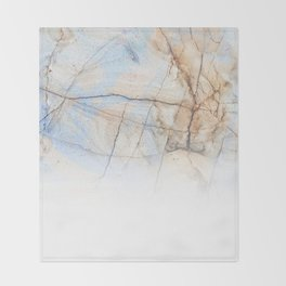 Cotton Latte Marble - Ombre blue and ivory Throw Blanket