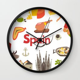 Spain traditional symbols set. Travel tourist element.Traditional spainish corrida, flamenco, guitar Wall Clock