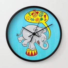 Circus elephant saying bad words Wall Clock