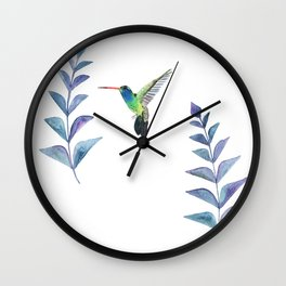 Hummingbird with tropical leaves watercolor design Wall Clock