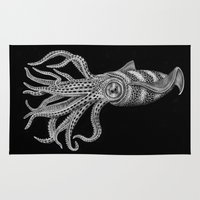 squid Area & Throw Rugs featuring Squid by Tim Jeffs Art