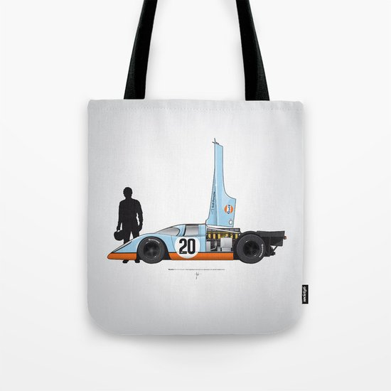 Outline Series N.º4, Steve McQueen, Porsche 917, Le Mans movie 1971 Tote Bag