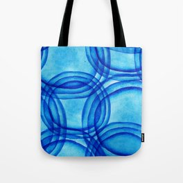 round shapes watercolor seamless ornament. Paints. Watercolor blue pattern. Tote Bag