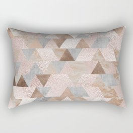 Copper and Blush Rose Gold Marble Triangles Rectangular Pillow