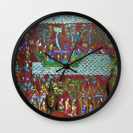 Colorful Buddhist Mosaic and Buddha Figurines, Temple, Laos Wall Clock