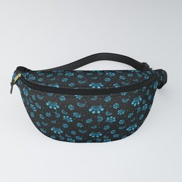 Paw print seamless pattern  in blue color on black background Fanny Pack