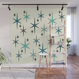 Mid Century Modern Star Sky Turquoise Wall Mural