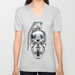 Skull grenade silver Unisex V-Neck