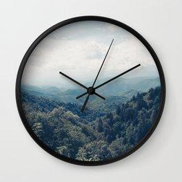 misty mountain morning Wall Clock