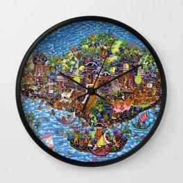 Bali Map Art Painting  Wall Clock