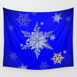 """MORE SNOW"" BLUE WINTER ART DESIGN Wall Tapestry"