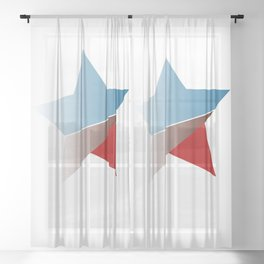 Ombre red white and blue star Sheer Curtain