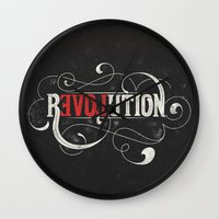 revolution Wall Clocks featuring Revolution by Mobe13