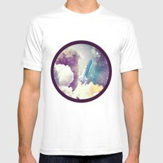 up to Space!  SMALL White Mens Fitted Tee