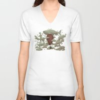 cloud V-neck T-shirts featuring Cloud Watching by Terry Fan