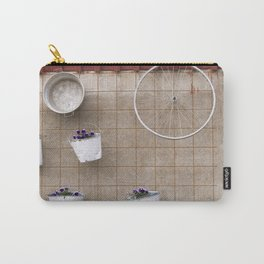 Wall Art: flowers, pot and bicycle wheel on the wall Carry-All Pouch