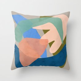 Shapes and Layers no.30 - Large Organic Shapes Blue Pink Green Gray Throw Pillow