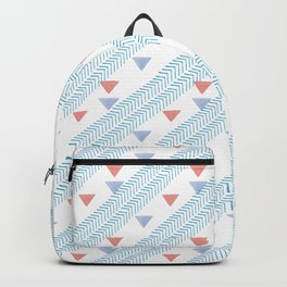 Modern coral blue watercolor handdrawn triangles chevron Backpack